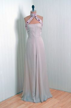 1970's Valentino Embroidered Beaded Chiffon Backless Gown | From a collection of rare vintage evening dresses at http://www.1stdibs.com/fashion/clothing/evening-dresses/