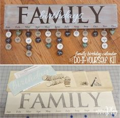 """family birthday calendar DO IT YOURSELF KIT includes: 6x24"""" wood board, 30 tags (your choice of circles or hearts), hardware, vinyl lettering, instructions! Discounts available on bulk orders! Sign up for our monthly craft idea: http://www.wordplaydesigns.net/#!wp-newsletter/c1zmd"""