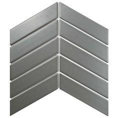 Merola Tile Metro Soho Chevron Matte Light Grey 1-3/4 in. x 7 in. Porcelain Floor and Wall Tile (1 sq. ft. / pack), Matte Light Grey/Low Sheen