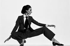 Frank Horvat, 1967, Harper Bazaar collections, Yves Saint Laurent suit on Naty Abascal
