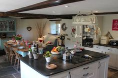 This is the beautiful kitchen/dining area at Higher Mullacott Farmhouse. www.selfcateredcottages.co.uk