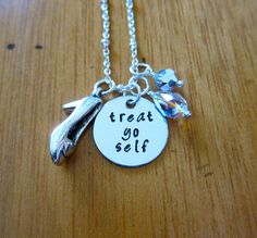Treat Yo Self Necklace. Shopaholic necklace. Swarovski Elements Crystals. Silver colored. Hand Stamped. *
