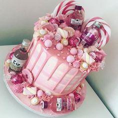 No photo description available. 18th Birthday Cake For Girls, 1st Birthday Foods, 30th Birthday Cupcakes, Bithday Cake, Pink Birthday Cakes, Beautiful Birthday Cakes, Adult Birthday Cakes, Funny Birthday Cakes, Alcohol Birthday Cake