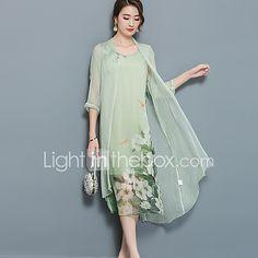 fc83d70220081 Kadın Dışarı Çıkma Büyük Beden Sokak Şıklığı İki Parça Elbise Çiçekli,½ Kol  Uzunluğu Bebe