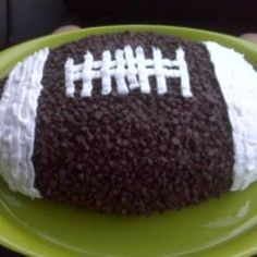 Touchdown Cake: My son LOVES football so I made him this cake for his 8th birthday party. The only catch was that we had recently found out that my daughter has an egg allergy, so I experimented and it came out wonderful. Everyone said that it was the best cake they ever had and it wasn't until then that I told them my secret recipe.