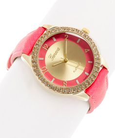 Another great find on #zulily! Fuchsia & Gold Stone Accent Bracelet Watch #zulilyfinds