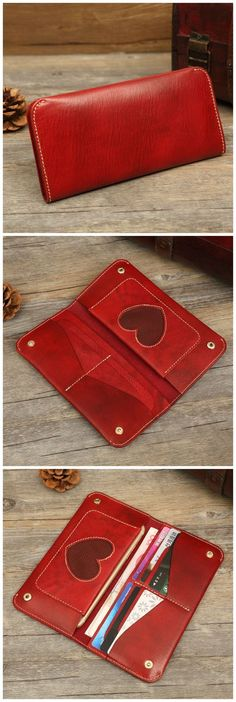 Hand Stitched Full Grain Vegetable Tanned Leather Long Wallet Phone Wallet Dimensions: Length: 19cm; Height: 9 cm; Width 1.5 cm Color: Brown/Black/Yellow Brown/Red