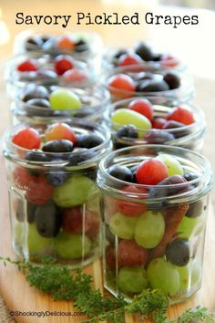 Sweet and sour pickled grapes are wonderful with sandwiches, cold meats, roasted chicken or turkey (Thanksgiving!), lamb, sausages...anything!  #Thanksgiving #Pickles #Refrigeratorpickles