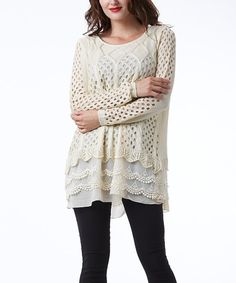 Simply Couture Beige Scallop-Layered Sweater Tunic | zulily