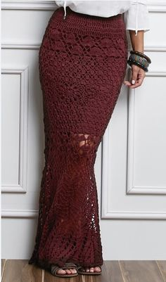 Crochet Skirts Burgundy crochet maxi skirt - Cream crochet maxi skirt Elegant crochet maxi skirt made with finest materials and available in different colors and sizes. The skirt can be customized. Col Crochet, Crochet Tunic, Free Crochet, Crochet Summer, Crochet Skirts, Crochet Clothes, Crochet Wedding Dresses, Beautiful Crochet, Handmade Clothes