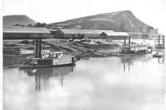 Steamboats Wauhatchie, Missionary & Lookout, circa 1863, near where Broad Street terminates at the Tennessee River