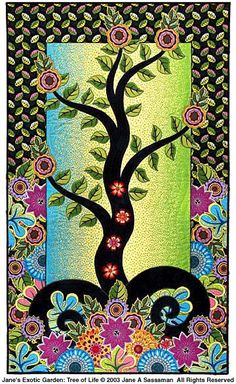 Tree of Life quilt. Jane Sassaman is an artist, a craftswoman and a quilter of the highest caliber! (one hell of a quilt - awesome)