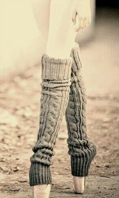 Leg warmers and toe shoes:)