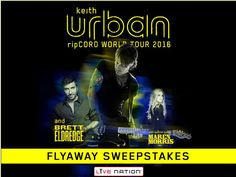 Enter The Live Nation Keith Urban Flyaway Sweepstakes for a chance to win a 3-day/2-night trip for two to Mountain View, CA!