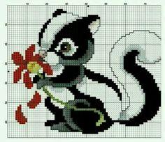 Animal skunk cross stitch.