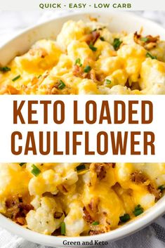 Cheesy Loaded Keto Cauliflower Casserole is one of my favorite keto side dishes ever!  Its the ultimate low-carb comfort food thats so easy to make, too! All the flavors of a loaded baked potato with just a few carbs.