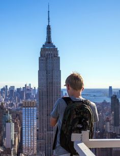 A different perspective: Ciesielski may just be 18-years-old but he still had the courage to climb dangerous heights to capture the Empire State Building and other New York sites.