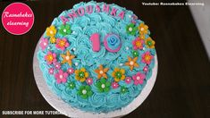 flower birthday cake design ideas decorating tutorial video at home roses whipped cream Happy Birthday Papa Cake, 10th Birthday Cakes For Girls, Roblox Birthday Cake, Cartoon Birthday Cake, Birthday Cake With Flowers, Frozen Birthday Cake, Flower Birthday, Cake Decorating For Beginners, Cake Decorating Classes