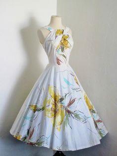 1950's Elinor Gay Atomic Print Halter Dress