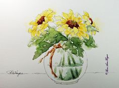 Sunflowers Original Watercolor Painting Flowers by RoseAnn Hayes, prints are available in Etsy shop