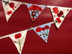 Remembrance day bunting - y6 Memorial Day Activities, Remembrance Day Activities, Remembrance Day Poppy, Poppy Craft For Kids, Crafts For Kids, Bunting, Memorial Day Poppies, Veterans Day Poppy, Peace Crafts