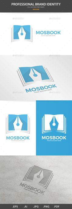 Vector Logo Combination Of a Book And Pen - Logo Templates Business Brochure, Business Card Logo, Science Signs, Library Logo, Pizza Logo, Learning Logo, Book Logo, Real Estate Logo, Education Logo