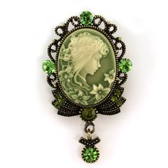 Green Cameo Brooch Pin Charm Retro Style Necklace Pendant Compatible