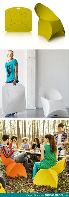 Flux Origami Chair: Folds flat for easy storage and transportation
