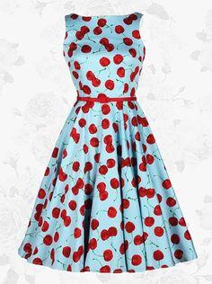 Blue Vintage 50s Cherry Boat Neck Sleeveless Rockabilly Swing Midi Dress
