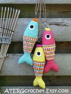 Crochet pattern colorful fish by ATERGcrochet door ATERGcrochet