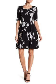 Karen Kane - Elbow Sleeve Floral Print A-Line Dress is now 51% off. Free Shipping on orders over $100.