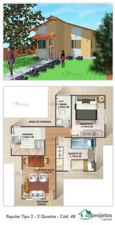 EXCELENTE RESIDÊNCIA PADRÃO POPULAR. 44,20 METROS QUADRADOS. Residência de 2 dormitórios e 1 banheiro. Com sala de estar e jantar conjugados. Cozinha e área de serviço.