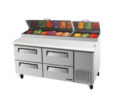 "Turbo Air TurboAir Super Deluxe Pizza Prep Table 20 cu. ft. - TPR-67SD-D4    Super Deluxe Pizza Prep Table, two-section, 20 cu. ft., s/s top w/refrigeration pan rail, (9) condiment pans included, 19-1/2"" deep removable cutting board, s/s interior and exterior, ABS door liner, insulated pan cover, (4) drawers w/recessed handles, 5"" casters, side-mount, self-contained, 2/3 HP, 2 Year Parts & Labor Warranty"