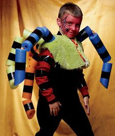 8d9de02ae5 DIY Pool Noodle Spider Halloween Costume- can also use the gray plumbing  insulation tubes. They look like pool noodles-buy at Lowes or Hope Depot in  the ...