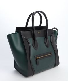 Celine Forest Green and Black Leather Mini Luggage Shopper Tote in Green (forrest) | Lyst