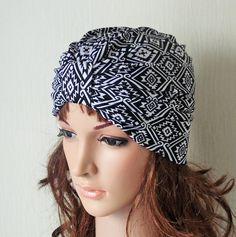 Black and White Aztec Print Stretch Jersey Turban Hat, Retro Style Turban, Summer Hat, 50s Headwear, Fashion Vintage Style Women's Turban by accessoriesbyrita on Etsy