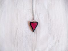 Modern heart necklace handmade in cold porcelain red and black