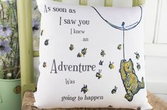 Winnie the Pooh Pink Pillow Adventure quote. Classic Winnie the pooh gift. Winnie the pooh girls nursery or baptism gift by TheSewingCroft on Etsy https://www.etsy.com/uk/listing/520499101/winnie-the-pooh-pink-pillow-adventure