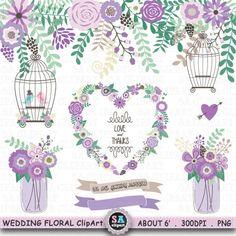 "Wedding Clipart "" WEDDING FLORA "" clipart,Mason Jar,Birdcage,Banner,Wreath,Love Bird,laurels,Wedding invitation,Instant Download Wf086a by SAClipArt on Etsy"
