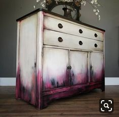 SOLD I m really liking these shades of deep berry pink lately if you can t tell This time I paired it with a dirty white dark stained top and bronze on the pulls This smaller buffet measures 36 tall 425 It will be available tonight at Funky Furniture, Refurbished Furniture, Paint Furniture, Upcycled Furniture, Furniture Projects, Furniture Makeover, Furniture Design, Refurbished Phones, Bedroom Furniture