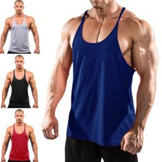 b5fdbaed1ccd20 Men s Tank Top Gym Singlets Sports Vest Bodybuilding and Fitness Stringer  Muscle Tank Shirt