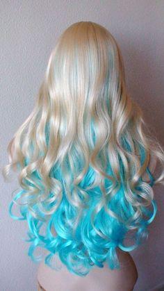 Blonde blue by kekeshop: - - Valentines Special // Blonde / Blue wig. Blonde blue by kekeshop: fashion section Valentines Special // Blonde / Blue wig. Blonde blue by kekeshop: Long Curly Hair, Curly Hair Styles, Natural Hair Styles, Frontal Hairstyles, Wig Hairstyles, Latest Hairstyles, Casual Hairstyles, Medium Hairstyles, Twisted Hair