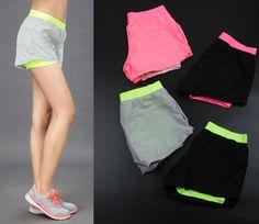 Hot 2015 mulheres poliéster ginásio de esportes respirável de secagem rápida calções de corrida de treinamento tamanho livre