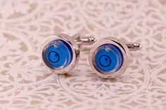 BLUE Working Round Level Awe Cufflinks Cuff links by luv4sams on Etsy