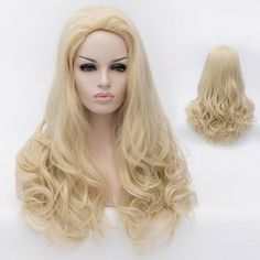 Charming Long Wavy Heat Resistant Synthetic Fluffy Stylish Light Blonde Wig For Women