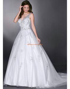Davinci A-linie Schöne Romantische Brautkleider aus Softnetz mit Stickerei
