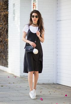 slip dress and t-shirt -
