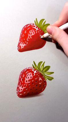 Badass Drawings, Demon Drawings, Realistic Drawings, Art Drawings Sketches, Pretty Art, Cute Art, Strawberry Drawing, Polychromos, Pastel Crayons