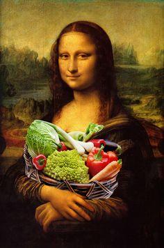 Mona Lisa Loves Vegetables Art Print