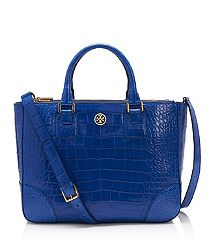 ROBINSON ALLIGATOR DOUBLE ZIP TOTE.  OK, this is my dream purse!  The jewel blue color is just perfect, and I love that you can carry it as a tote or as a shoulder bag.  And the pattern on the bag is gorg!  A girl can dream can't she?